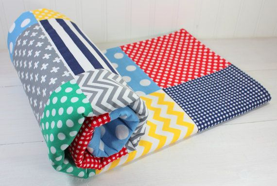 Baby Blanket, Unisex Patchwork Baby Blanket, Gender Neutral Nursery, Primary Colors, Stroller Blanket, Red, Yellow, Green, Navy Blue, Gray