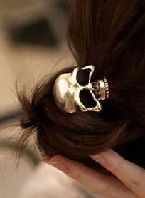 Gold skull hair tie