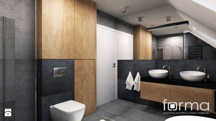 ŁAZIENKA KRYSPINÓW - Średnia łazienka na poddaszu w domu jednorodzinnym z oknem, styl nowoczesny - zdjęcie od FORMA - Pracownia Architektury Wnętrz i Krajobrazu