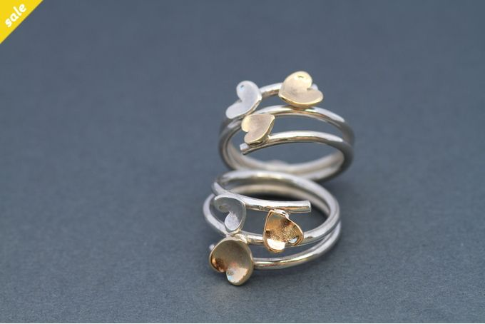 Sterling silver and 9ct gold handmade rings by ginadesigns for sale on http://hellopretty.co.za