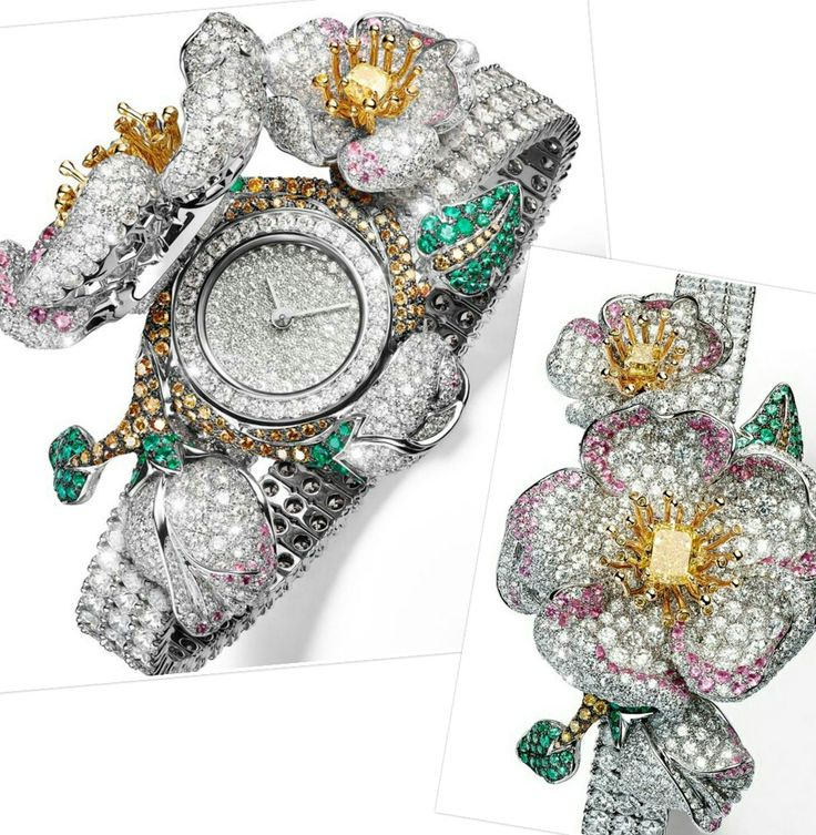 This beautifully whimsical briar rose in white and pink diamonds called Primavera, with the occasional grey stone to emphasise shadow, the biggest flower centred with a yellow diamond. Pushing on a bud triggers the opening of this bloom to reveal the dial, while the organic forms sit on a contemporary, simple strap of the rows of diamonds, ensuring the entire composition remains modern.  @giampierobodino Primavera secret watch in white and yellow gold with yellow diamond, pink sapphires…