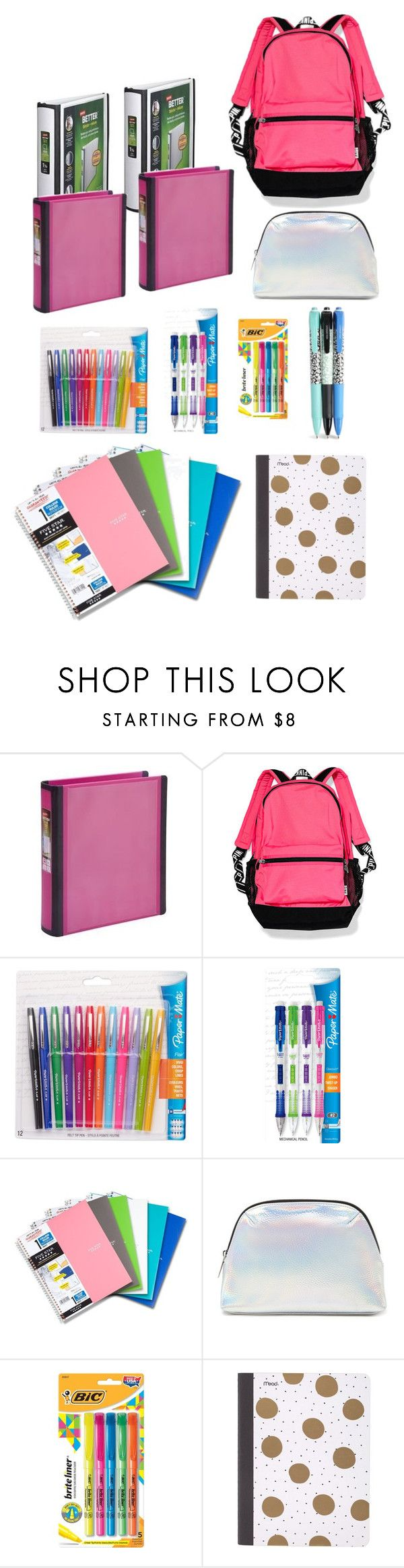 """What's in my backpack "" by macky02 ❤ liked on Polyvore featuring Victoria's Secret PINK, Paper Mate, Forever 21, Mead and Vera Bradley"
