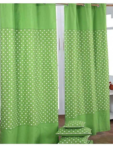 Cotton Stars Green Ready Made Eyelet Curtain Pair, 117 x 137 cm Drop