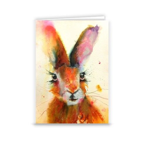 Blue Hare Greeting Card by inspirestudio-gallery at zippi.co.uk