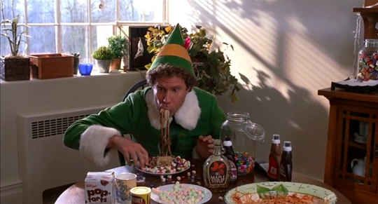 Will Ferrell suffered from headaches and lack of sleep during production as a result of all the candy he had to eat while filming - 10 Facts You Didn't Know About Elf via Buzzfeed