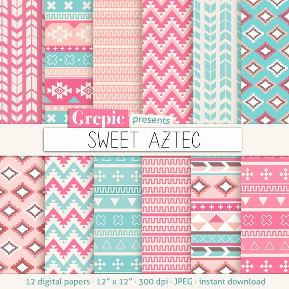Aztec digital paper SWEET AZTEC aztec patterns tribal by Grepic, $4.90