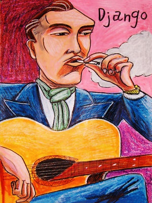 DJANGO REINHARDT PRINT poster gypsy jazz guitar selmer maccaferri nuages cd hot