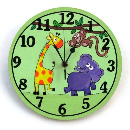 Green Wall Clock With Cute Animals Paintings by TammnoonyKids, $29.90