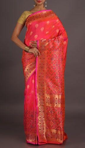 Kareena Blooming Pink With Color And Zari Ornate Banarasi Brocade Saree