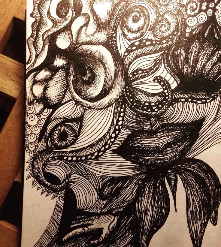 Black ink, rapidographs, doodles.