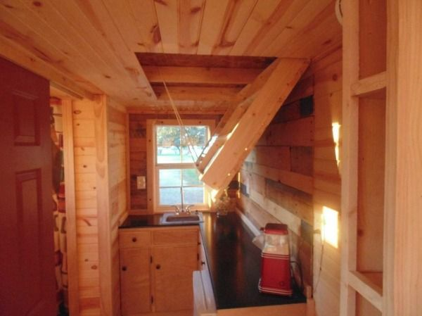 195 Sq. Ft. Tiny Home on Wheels (For Sale) via Tiny House Talk. Has some innovative storage solutions.