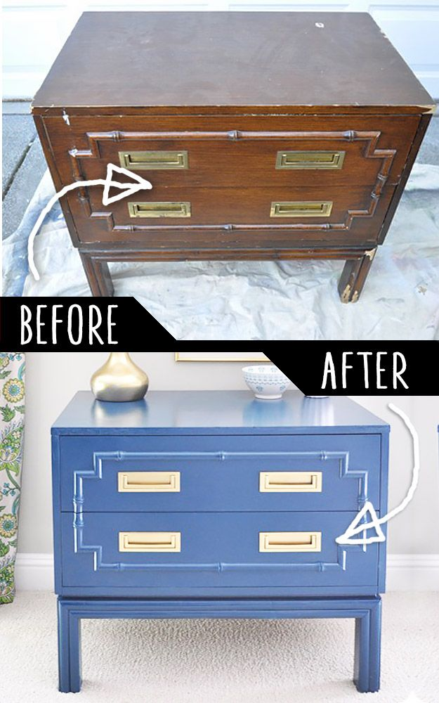 DIY Furniture Makeovers - Refurbished Furniture and Cool Painted Furniture Ideas for Thrift Store Furniture Makeover Projects | Coffee Tables, Dressers and Bedroom Decor, Kitchen |  Faux Bamboo Chest Makeover  |  http://diyjoy.com/diy-furniture-makeovers