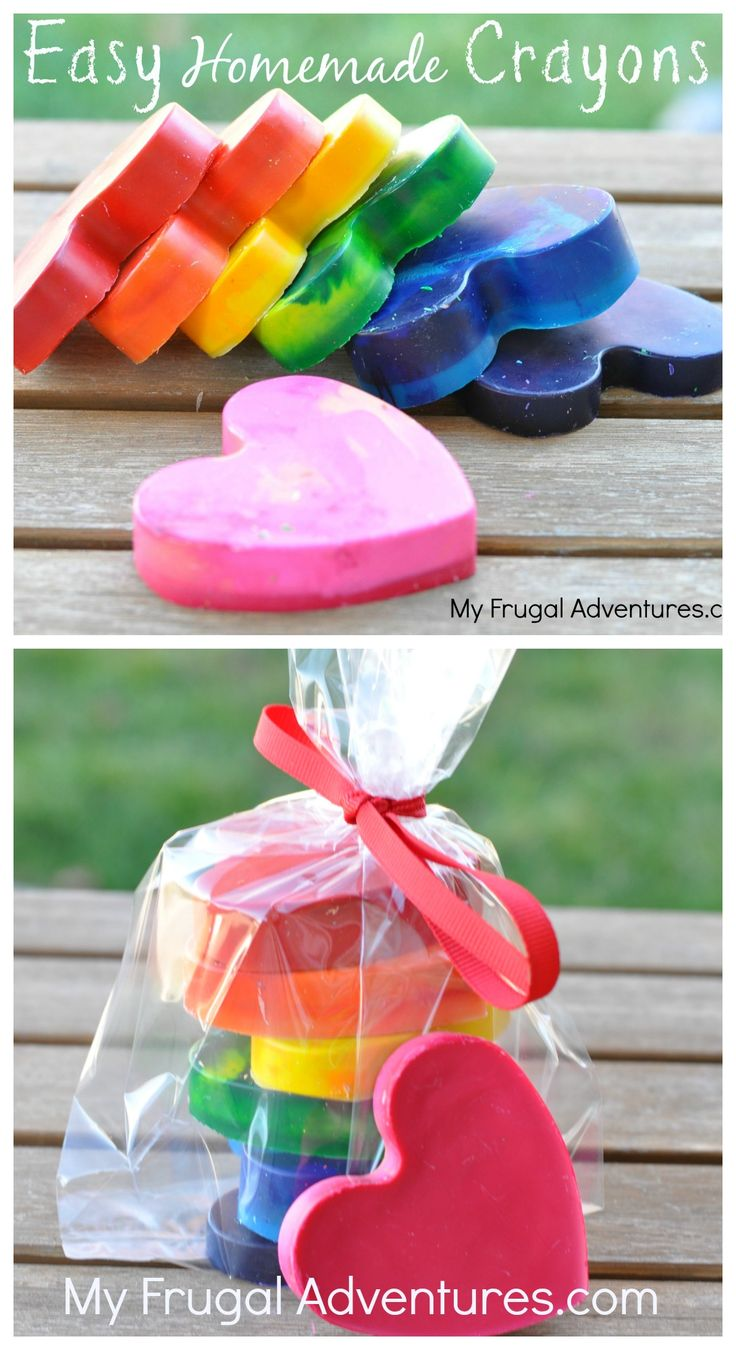 Super easy homemade crayons for kids. Make these in a  variety of shapes and colors.  Fun gift idea or party favor.
