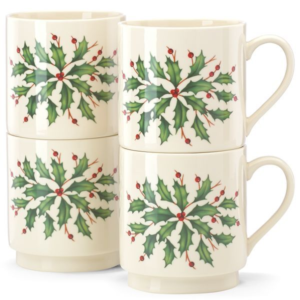 Holiday® Stackable 4-pc Mug Set By Lenox -12oz mugs 50% off