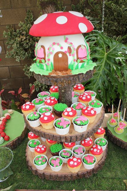 Adorable cake and cupcakes at a Fairy Garden Party #fairygarden #partycake