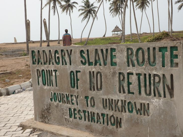 The Point of No Return memorial in Badagry, Nigeria, is those two vertical concrete structures in the background.