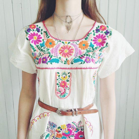 Vintage Oaxacan Ornate Multi-colour Cotton by MoonInLeoShop
