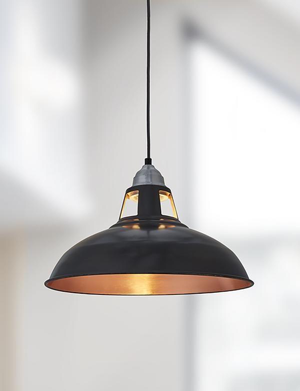 Industrial Vintage Old Factory Dark Pewter Copper Pendant Light
