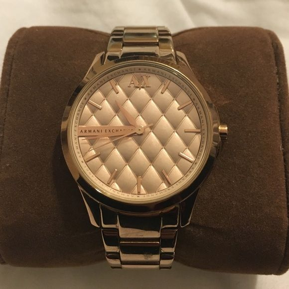 Gorgeous genuine Armani Exchange Rose gold watch Armani exchange rose gold watch. Shows a little bit of wear on the inside of clasp and back of the watch, both cannot be seen while it is being worn. Armani Exchange Jewelry