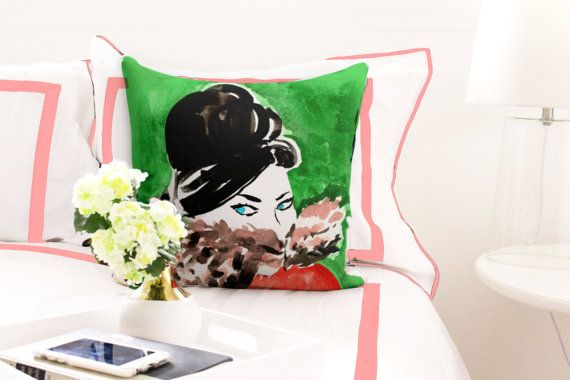 Illustrated Pillow: Cozy Darling {Fashion pillow, cute pillow, illustration pillow, book pillow, girl's room, dorm room, reading pillow}