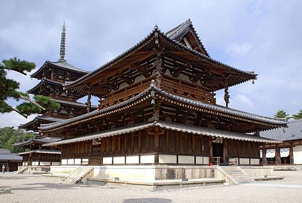 The Golden Hall and five-storey pagoda of Hōryū-ji, among the oldest wooden buildings in the world, National Treasures, and a UNESCO World Heritage Site