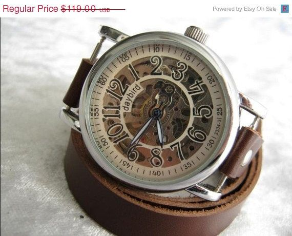 Skeleton Watch Steampunk Mechanical by alfrescouniquegroup on Etsy