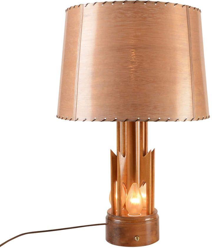 Rejuvenation Mid Century Wood Lightning Bolt Table Lamp ...