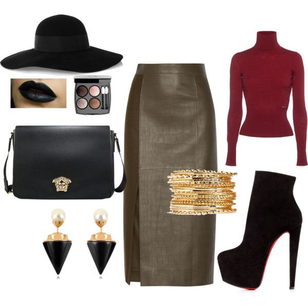 burgundy by tatiana-takacova on Polyvore featuring Dsquared2, Jason Wu, Christian Louboutin, Vita Fede, Eugenia Kim and Chanel