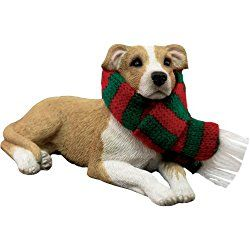 Sandicast Fawn Pit Bull Terrier with Red and Green Scarf Christmas Ornament
