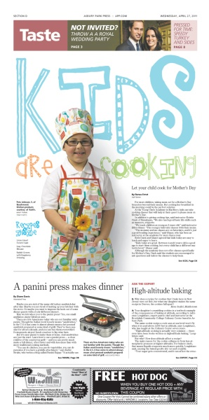 Great play between the typography and the main photo in this Taste section front by David Anesta and Michelle Stemie of the Asbury Park Press