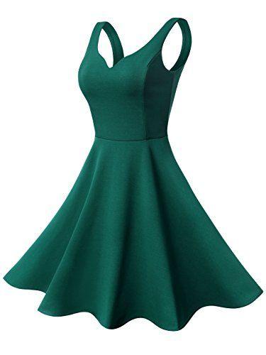 50er Retro Kleid Rockabilly Damen Ärmellos Kleider Abendkleid Herzform Miniklei…