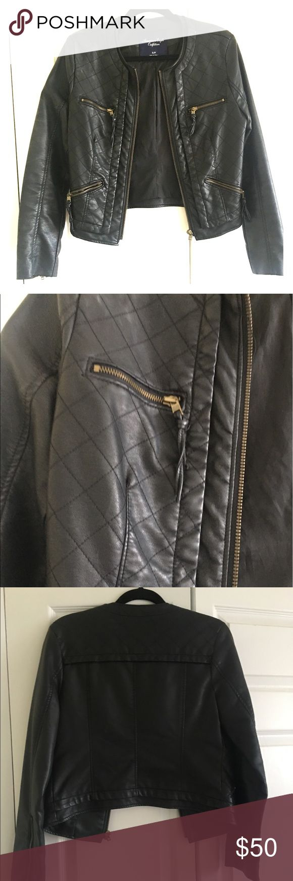 Black leather Jacket with Brass details This jacket is from American Eagle. Only wore is a few times. Very pretty on. No cuff collar. Fits true to size. American Eagle Outfitters Jackets & Coats