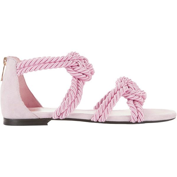 Sybille Rope Pink Sandals found on Polyvore featuring polyvore, women's fashion, shoes, sandals, pink, tie sandals, roper shoes, open toe sandals, pink sandals and pink open toe shoes