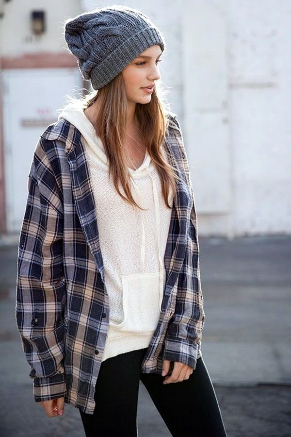 Cute but comfy sporty outfit - Leggings with tee or jumper and flannel shirt over top with hair loose and a beanie