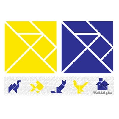 Wall Tangrams: Special Set (Blue + Gold)