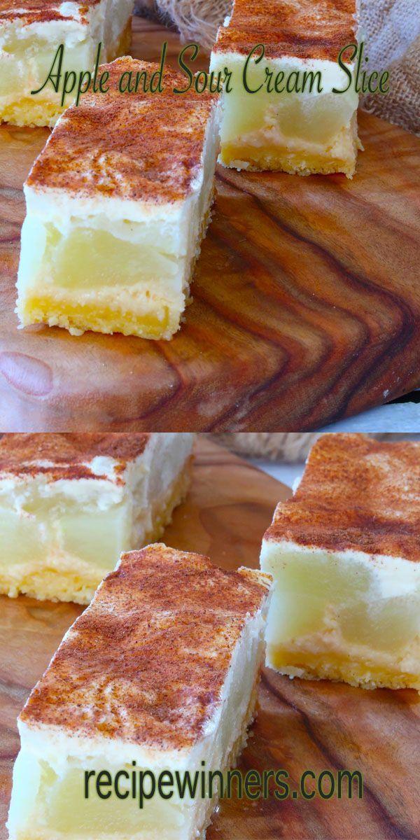 Apple And Sour Cream Slice In 2020 Apple Slice Recipe Slices Recipes Dessert Recipes