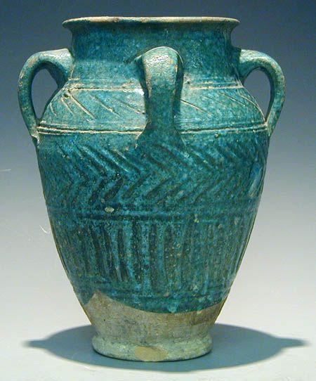 13th century turquoise jar Iran or Syria.
