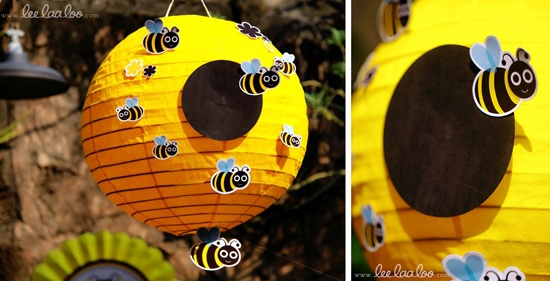 cute bee party idea: to turn a yellow lantern into a beehive