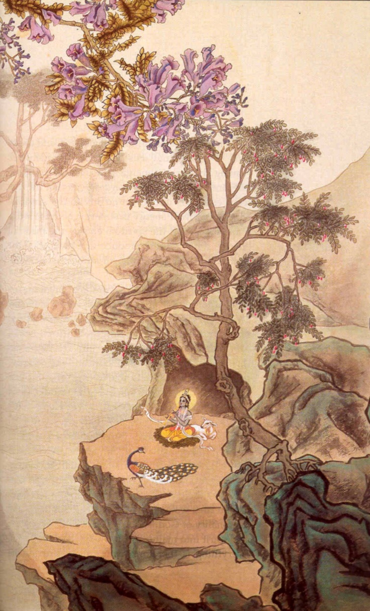 Idk if someone just photoshopped Krsna in here because it looks like a Chinese painting, but I like it.