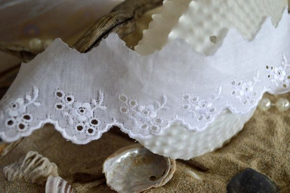 white cotton lace trim 4.5cm wide scalloped by TheQuiltedCheese