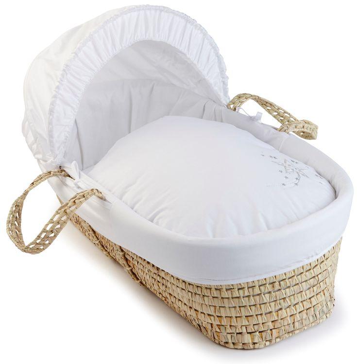 Clair de Lune Starburst Palm Moses Basket (White): Amazon.co.uk: Baby 86 x 40 x 25 cm @ £32.22