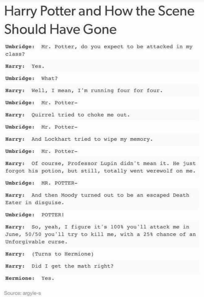 Ok, this was funny, but the bit when Harry asks Hermione if he got the math right made it even better!!
