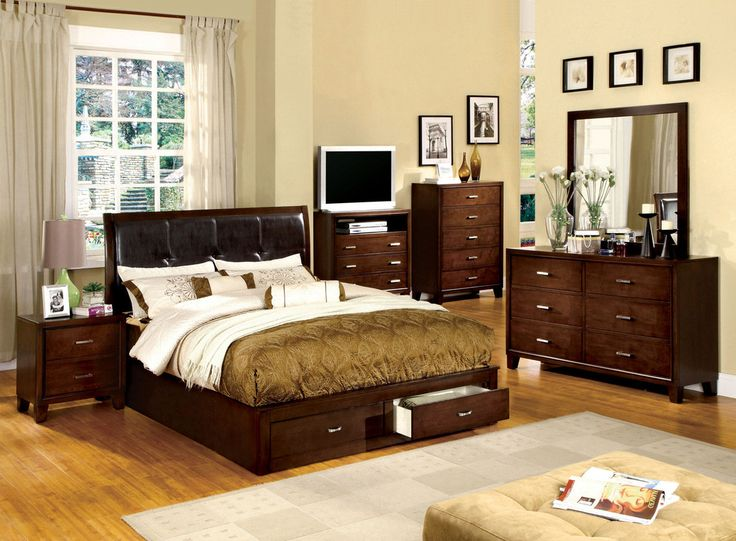 Florence Contemporary Storage Bed (Brown Cherry & Espresso) – Modish Store