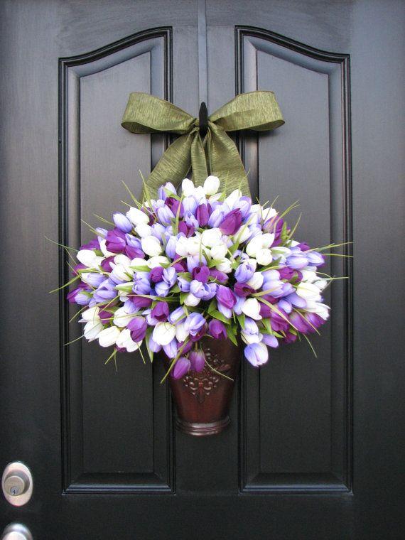 Spring Tulips - Bucket of Spring Tulips - Spring Decor - Purple Tulips - Lavender - Tulip Arrangement - Wall Pockets. $110.00, via Etsy.