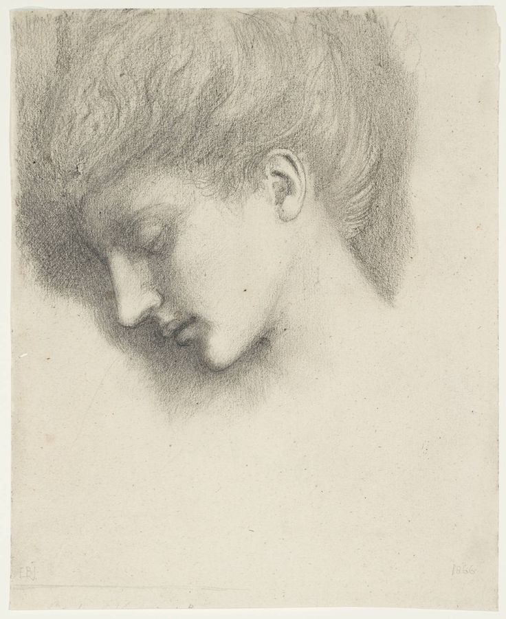 Sir Edward Coley Burne-Jones' drawing of a sleeping woman's head uses tone to create a shadow effect on the head. The pencil markings make the colours in the picture contrast by shading the hair.