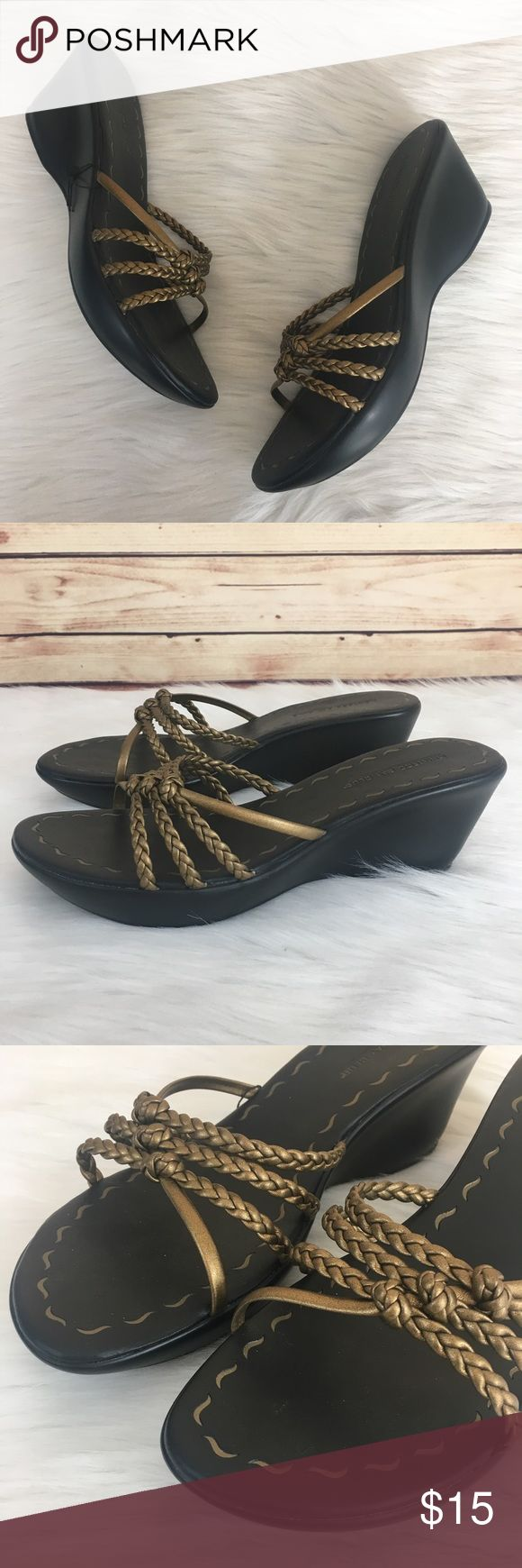 """Montego Bay Club wedge sandals ✨Newly listed items are priced to move.. please help me clear out my actual closet 😉  Preloved / Montego Bay Club wedge sandals Size 11, fits true to size Slip on closure Wedge height: 3"""" Platform height: 1"""" *Shoes show wear (may have dirt, scuffs, scratches, rubbing, discoloration) *Comes without shoebox but will be packaged in a usps shipping box.  ✨Build a bundle with all your likes and use the automatic bundle discount -or- make me a bundle offer✨ Montego…"""