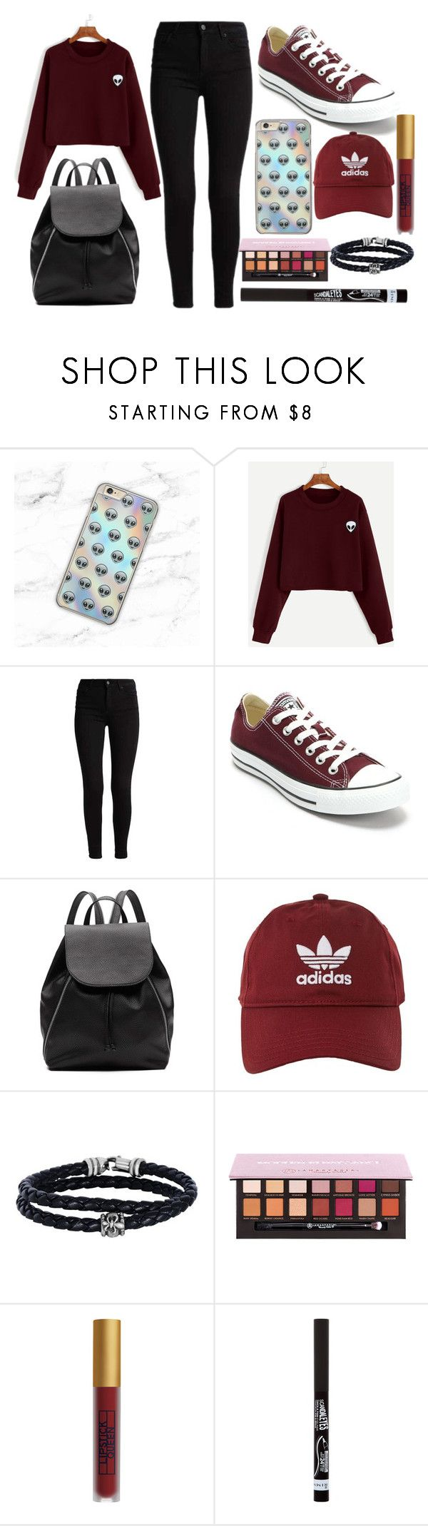 """Black and dark red"" by thisisalle on Polyvore featuring Samsung, Converse, Witchery, adidas, Phillip Gavriel, Lipstick Queen and Rimmel"