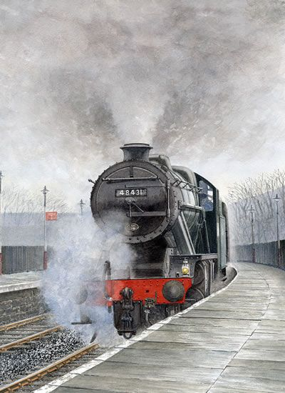 steam trains british in paintings -STEAM TRAIN 48431 Stanier 8F - PAINTING BY SURREY ARTIST www.surreyartists.co.uk 48431 Stanier 8F Steam Train - Picture by John Healey - Surrey Artist