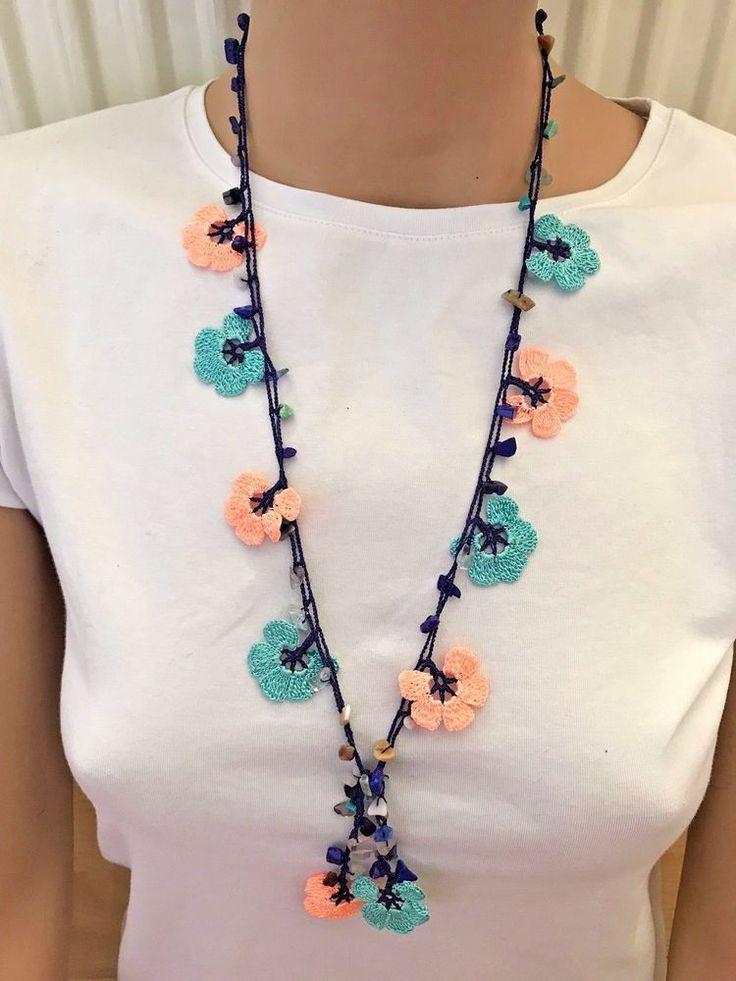 blue necklace, somon necklace, crochet necklace, turkish oya, handmade textile. #Handmade #Lariat