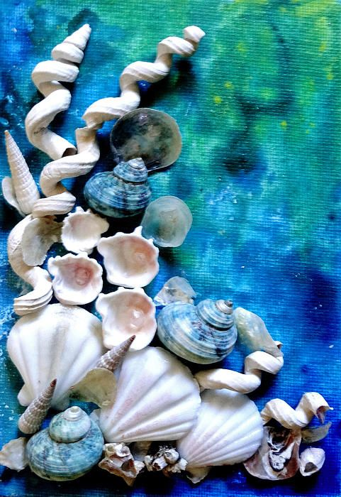 Shells glued to painted canvas.